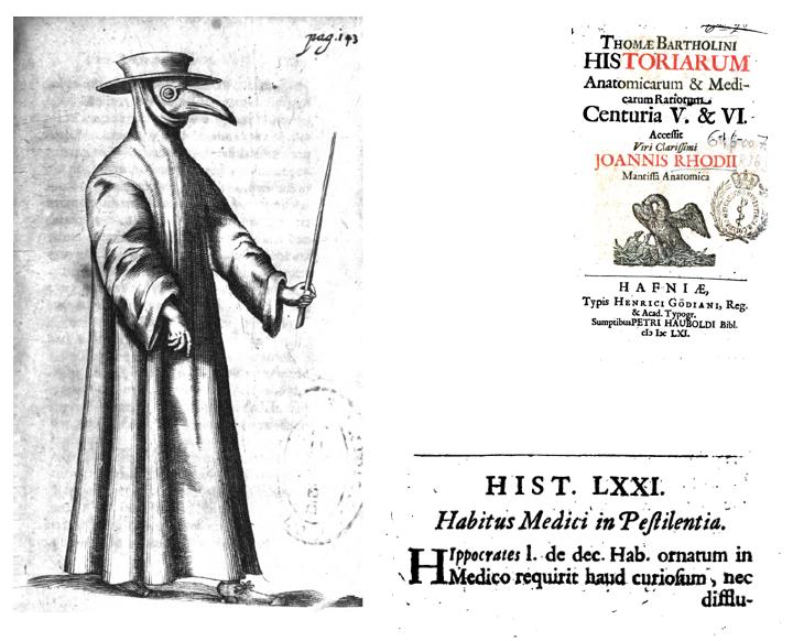 Titelpagina (rechts) en plaat van een pestdokter uit het boek van Thomas Bartholin, 1661