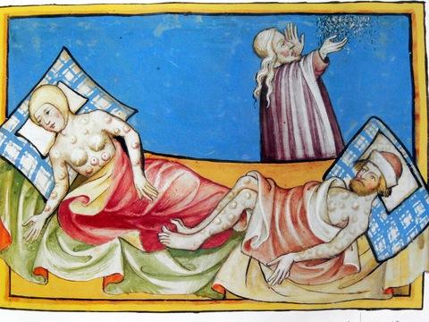 Afbeelding van 'de behandeling van de pest', maar gelet op de vele builen verspreid over het hele lichaam zal dit eerder de pokken betreffen