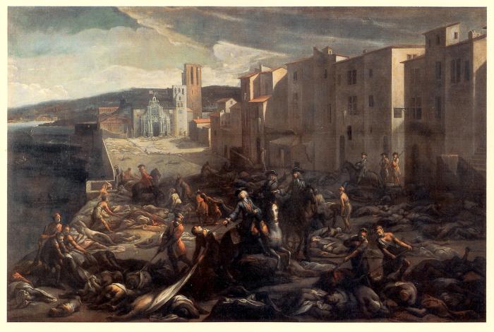 'La tourette', een straat in Marseille in 1720 tijdens de pest epidemie. Schilderij van Michel serre (Atger Museum, Motpellier)