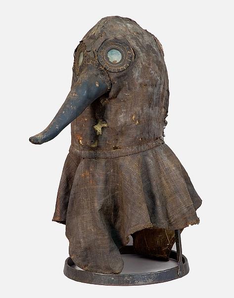 Pestmasker in het Deutschen Medizinhistorischen Museums, Berlijn