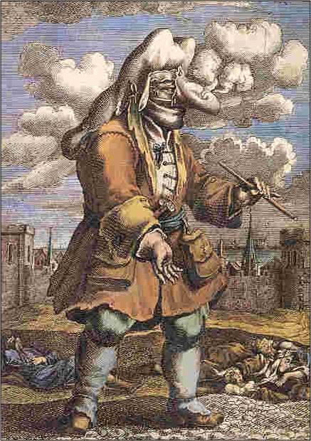 Een andere bekende afbeelding is van Johannn Melchior Fussli (1677-1736) van een pestdokter uit Marseille. Deze pestmeester droeg weliswaar een snavelmasker, maar is niet head-to-toe ingepakt met beschermende kleding. De afbeelding is afgebeeld en besproken in het boek A tragedy of the great plague of Milan in 1630 door Robert Fletcher (1898).