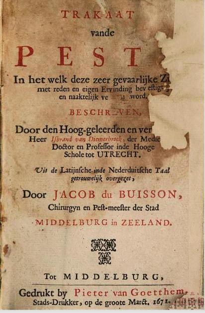 Titelpagina van het Traktaat van de pest door IJsbrand van Diemerbroeck