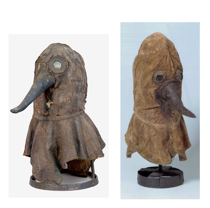 Bewaard gebleven pestdoktermaskers. Links het exemplaar uit Ingolstadt, rechts het Berlijnse exemplaar.