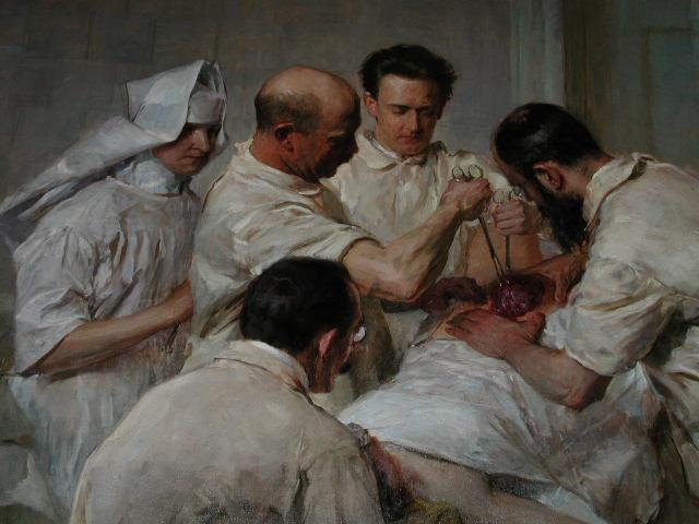 Ernst Wertheim tijdens een abdominale baarmoeder extirpatie