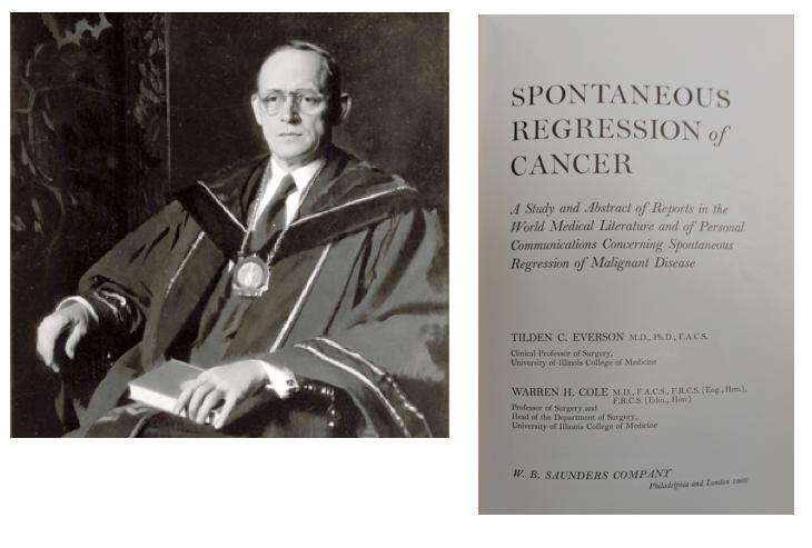 Warren H. Cole en de titelpagina van zijn boek over spontane regressie van kanker (1966)