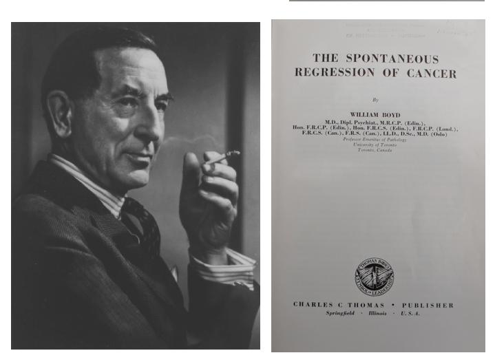 William Boyd en de titelpagina van zijn boek over spontane regressie van kanker (1966)