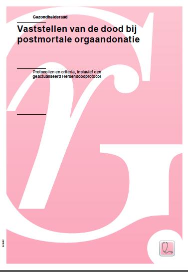 Omslag van het Advies Vaststellen van de dood bij Orgaandonatie, Gezondheidsraad, 2015